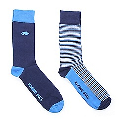 Raging Bull - Cott Rich Sock 2pk Stripe/Cobalt