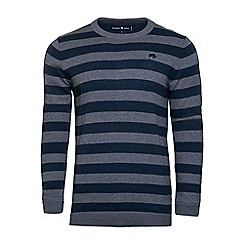 Raging Bull - Stripe crew neck knit sweater