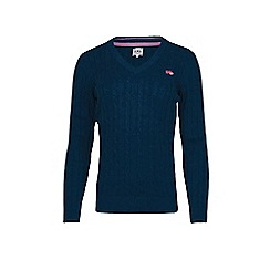 Raging Bull - Navy Cotton v-neck jumper