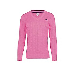 Raging Bull - Pink cotton v-neck jumper