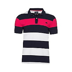 Raging Bull - Navy, white and red irregular hoop polo
