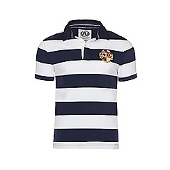 Raging Bull - Navy and white large hoop crest polo