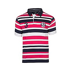 Raging Bull - Pink, white and navy irregular stripe polo