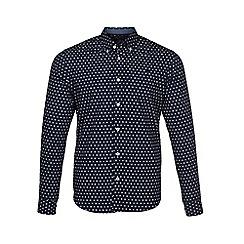 Raging Bull - Navy long sleeves ditsy print shirt