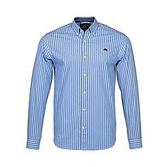 Raging Bull - Mid blue long sleeves wide stripe shirt