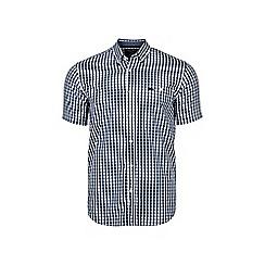 Raging Bull - Navy short sleeved gingham poplin shirt