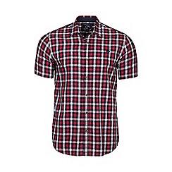 Raging Bull - Red short sleeves linen look check shirt