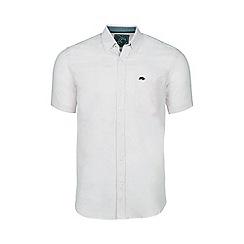 Raging Bull - White short sleeved plain linen shirt