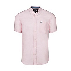 Raging Bull - Pink short sleeved plain linen shirt