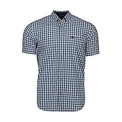 Raging Bull - Navy short sleeves small check poplin shirt