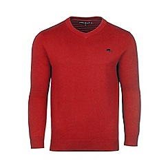 Raging Bull - Red v-neck cashmere mix sweater
