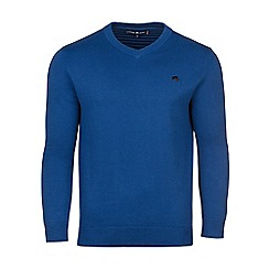 Raging Bull - V-Neck Cott/Cash Sweater - Cobalt
