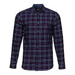 Raging Bull - Navy brushed check shirt