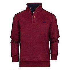 Raging Bull - Claret jersey button neck sweater