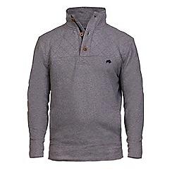 Raging Bull - Dark grey quilted jersey funnel neck jumper