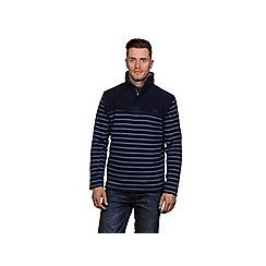 Raging Bull - Navy contrast stripe 1/4 zip sweater