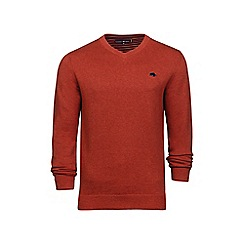 Raging Bull - Orange V-neck cotton and cashmere sweater