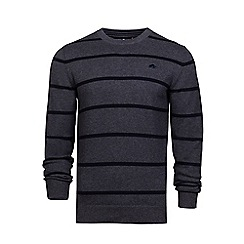 Raging Bull - Dark grey crew neck striped sweater