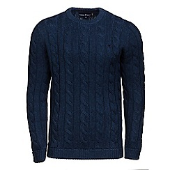 Raging Bull - Midnight heavy cable crew neck jumper