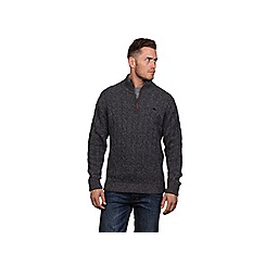 Raging Bull - Charcoal cable knit 1/4 zip jumper