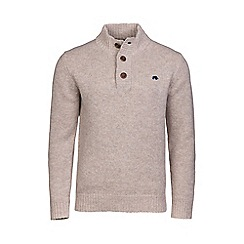 Raging Bull - Oatmeal button up funnel neck jumper