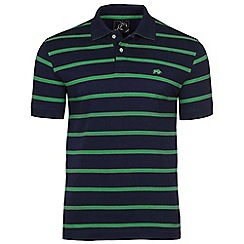 Raging Bull - Navy and green stripe Breton polo
