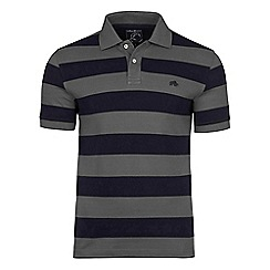 Raging Bull - Grey and navy large hoop polo shirt