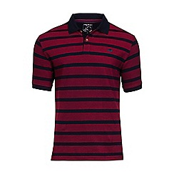Raging Bull - Red birdseye stripe polo shirt
