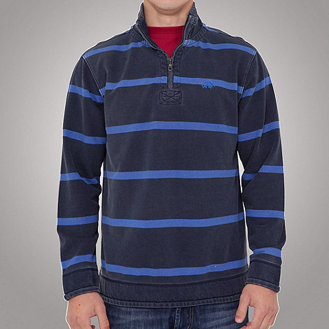 Raging Bull - Thin stripe 1-4 zip top- cobalt