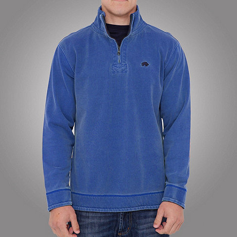 Raging Bull - Plain 1-4 zip top- cobalt