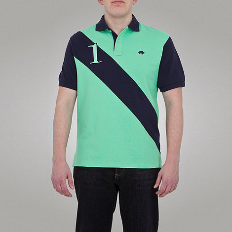 Raging Bull - No1 diagonal stripe polo - lime green