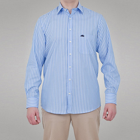 Raging Bull - Long Sleeve Striped Shirt - Blue / White