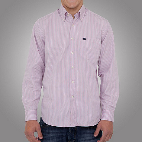 Raging Bull - Long sleeve stripe shirt-Pink-White