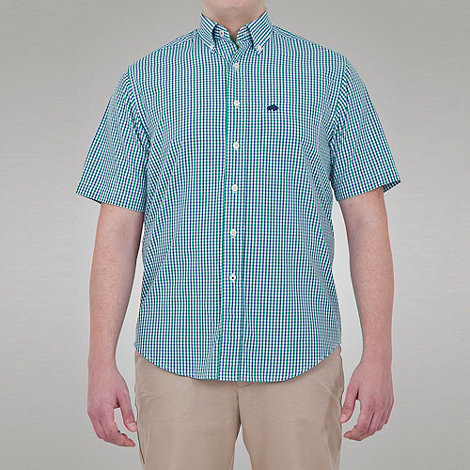 Raging Bull - Fine Check Button Down Collar Shirt - Lime / Navy