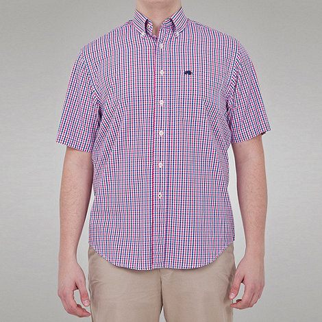 Raging Bull - Fine Check Button Down Collar Shirt - Vivid Pink