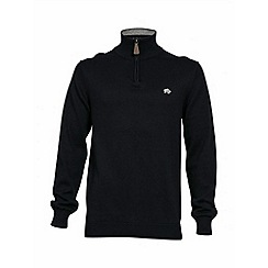 Raging Bull - Navy knitted quarter zip