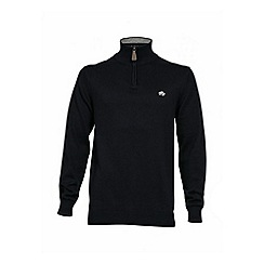 Raging Bull - Navy knitted quarter zip