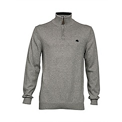 Raging Bull - Grey marl knitted quarter zip