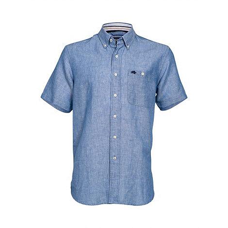 Raging Bull - Short sleeve plain linen shirt