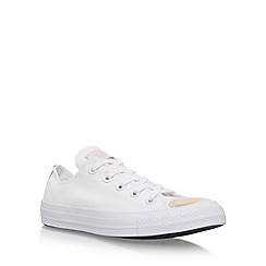 Converse - White 'Brush Off Toecap Low' flat lace up sneakers