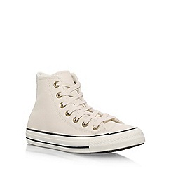 Converse - White 'Ct Leather faux fur Hi' flat lace up sneakers