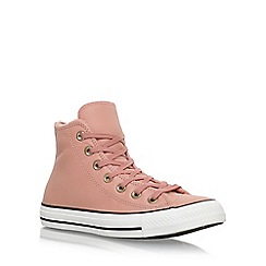 Converse - Pink 'Ct Leather faux fur Hi' flat lace up sneakers