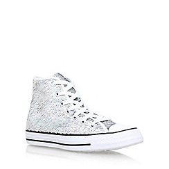 Converse - Silver 'Holiday Party High' flat lace up sneakers