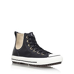 Converse - Black 'Leather/faux fur Chelsea Boot' flat lace up sneakers