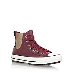 Converse - Red 'Leather/faux fur Chelsea Boot' flat lace up sneakers
