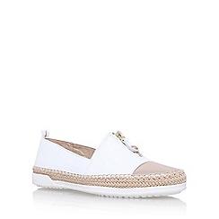 Anne Klein - White zip down flat slip on sneakers