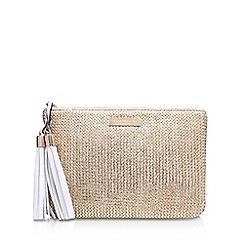 Carvela - Gold 'Poppy Raffia Pouch' zip fastening purse