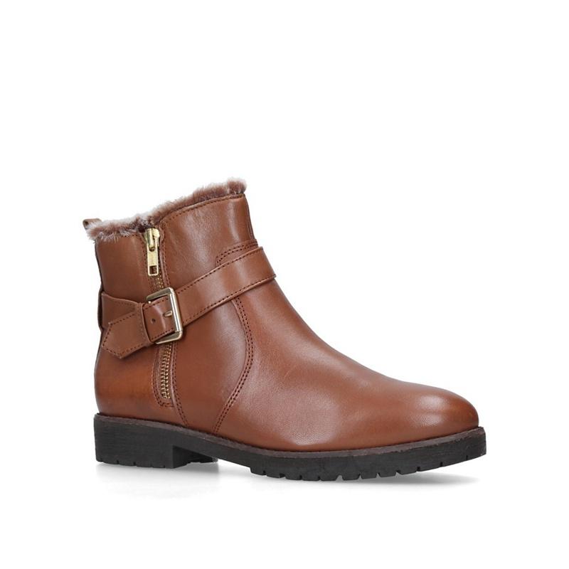 CARVELA   Carvela - Tan 'Scout' Leather Faux Fur Ankle Boots   Goxip