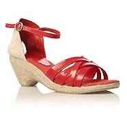 vegan red raffia sandals