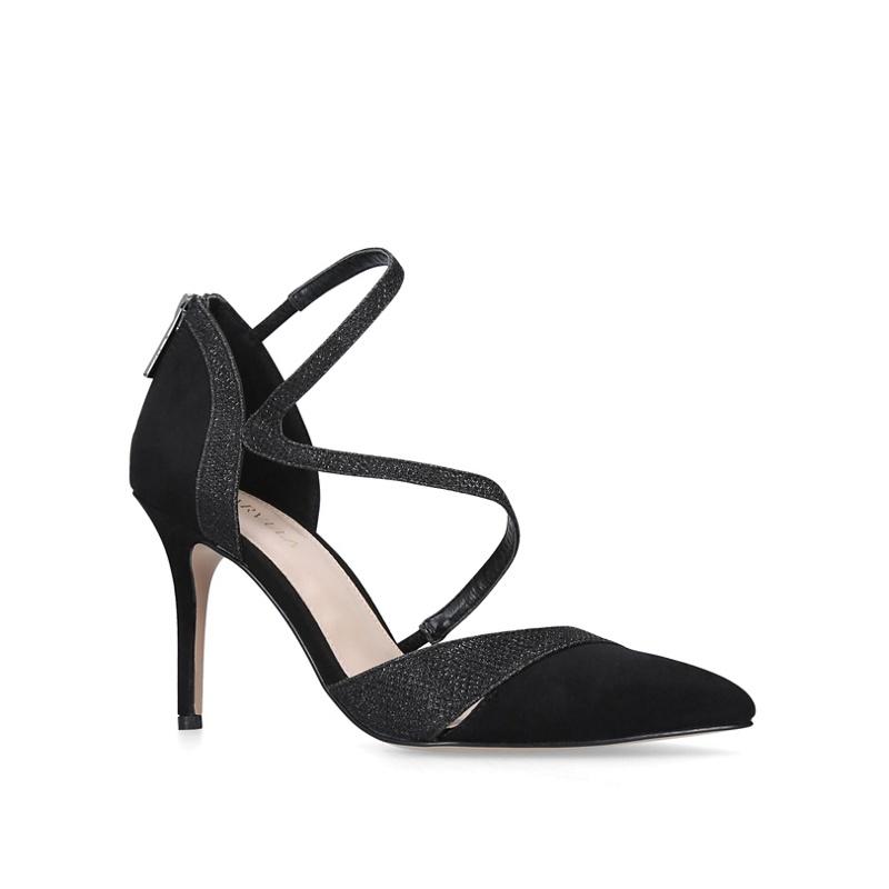 41d9d09d0c4 Womens Carvela Black 'Luna' suedette stiletto heeled court shoes ...